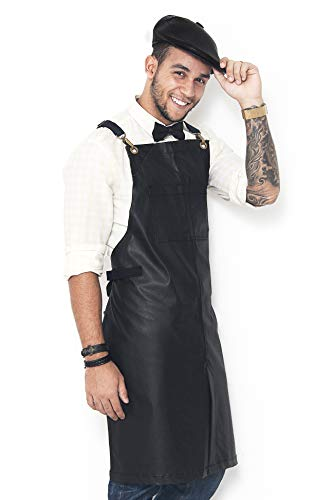 Under NY Sky Barber Jet Black Apron  CrossBack with Durable Coated Twill Leather Reinforcement and SplitLeg  Adjustable Men and Women Pro Hair Stylist Tattoo Mixologist Bartender Aprons