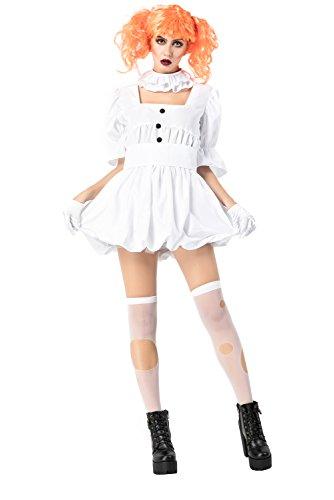 (Dark Paradise Women's Halloween Ghost Bride Ghoul Cosplay Dress Zombie Costume Crown Wig)