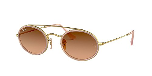 Ray-Ban RB3847N Oval Double Bridge Sunglasses, Gold/Pink Brown Gradient, 52 mm (Ray Ban Sonnenbrillen Sale)