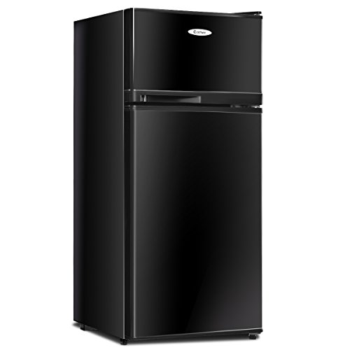 COSTWAY Mini Refrigerator, 2-Door 3.4 cu. ft. Small Compact Under Counter Refrigerator Fridge Freezer Cooler Unit for Dorm, Office, Apartment with Adjustable Removable Glass Shelves (Black)