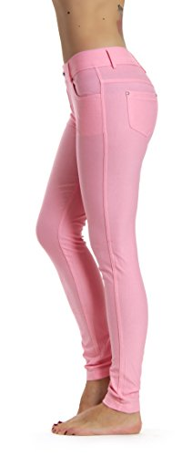 Prolific Health Women's Jean Look Jeggings Tights Yoga Many Colors Spandex Leggings Pants S-XXL (Large, Light (Pink Pocket Jeans)