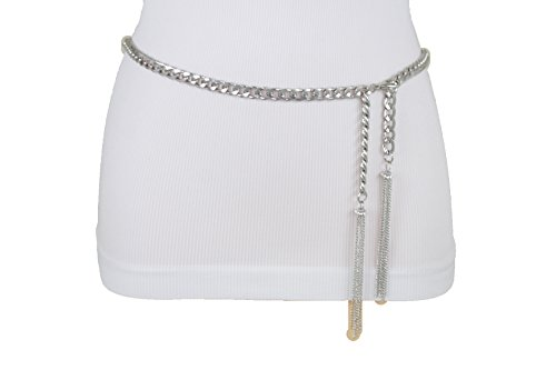 TFJ Women Fashion Metal Chains Belt Hip Waist Wrap Around Fringes Plus M L ()