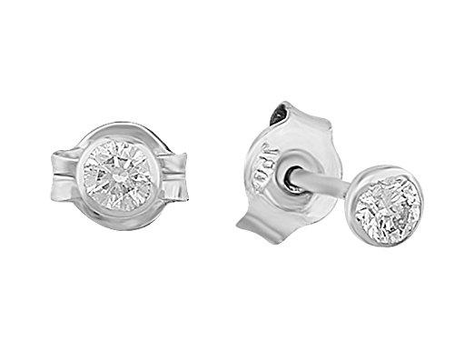 Boucles d'Oreilles Diamant Solitaire 0.28 Carat-Femme- or Blanc 215E0016