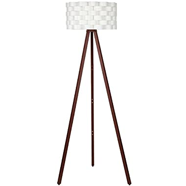 Brightech – Bijou Tripod Floor Lamp – Contemporary Design for Modern Living Rooms – Soft Ambient Lighting – Made with Natural Wood - Havana Brown Wood