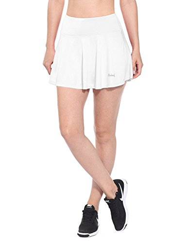 Baleaf Women's Athletic Pleated Tennis Golf Skirt with Pockets White Size S