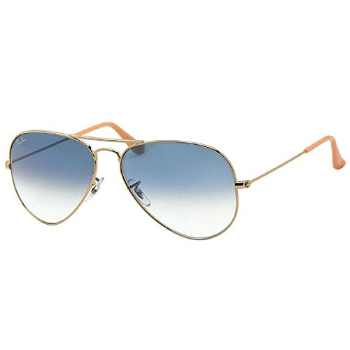 Ray-Ban RB3025 001/3F Aviator Non-Polarized Sunglasses, Gold Frame/ Blue Gradient Lens, - Rb3025 Blue Gradient