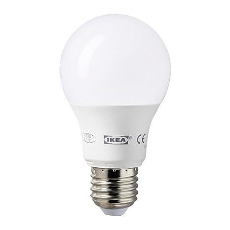 IKEA LEDARE bombilla LED E27 400 lúmenes 6,3 W globo ópalo blanco 2 ...