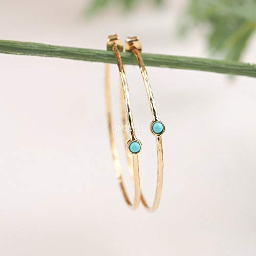 Blue Simulated Turquoise Gold Plated Brass Hoop Earrings ()