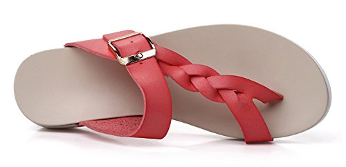 Minetom Women Summer Breathable Braid Buckle Clip Toe Sandals T-Strap Open-Toe Flip Flop Thongs Slippers Flat Shoes Beach Red Yxzxaj0z