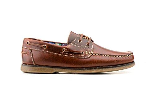 Zapatos Náuticos de Piel para Hombre, mod.1688, Made in Spain, Garantia de Calidad. Beirado