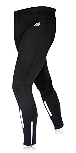 Mens Running Tights, Cycling Pants, Cold Weather Leggings with Zipper Pocket by X31 Sports (Black, (Cold Weather Cycling Pants)
