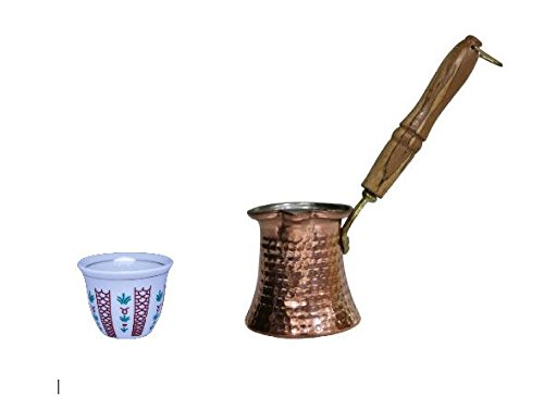 Traditional Style Set Of 12 Turkish Arabic Coffee Cups Gawa   Hammered Copper Coffee Warmer With Wooden Handle  12 Oz Pot