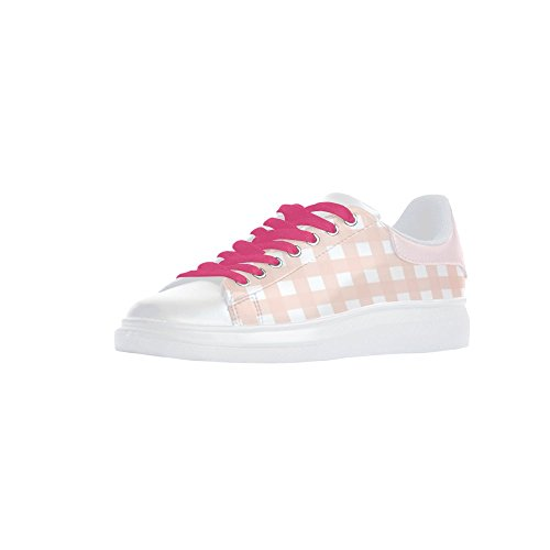 6f4c3ae447a Womens Pink Check Thick Bottom Action Leather Shoes PU Out-sole EVA Mesh  Insole lovely