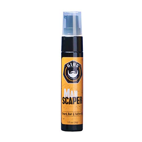 Price comparison product image GIBS Grooming Manscaper Beard,  Hair & Tattoo Oil - All-Natural with Grapefruit,  Tobacco Flower,  Saffron & Cedar Scent- Softens & Strengthens Beard Growth,  Moisturizes Skin,  1 oz