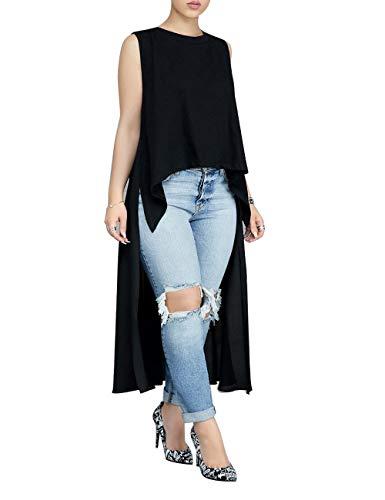 ZerMom Women's Chiffon Blouses Sleeveless High Low T-Shirt Tunic Tops - Chiffon Blouse Sleeveless