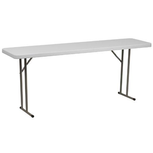 - Flash Furniture 18''W x 72''L Granite White Plastic Folding Training Table [RB-1872-GG]
