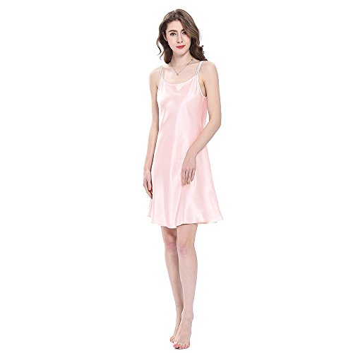 (LilySilk Real Silk Nightgowns for Women Charmeuse 100 Real 16 Momme Silk Short Sexy Chemise Ladies Lingerie Petite Light Pink M/8-10)