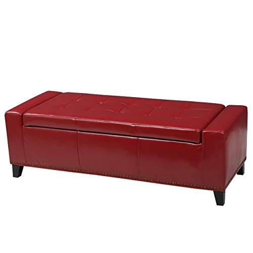 Christopher Knight Home 296760 Living Robin Studded Red Leather Storage Ottoman Bench,