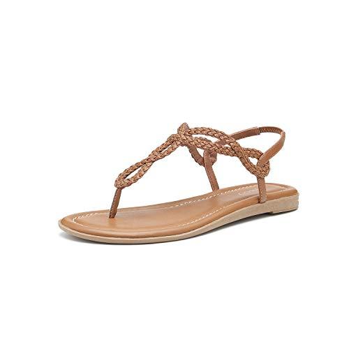 Women's Braided T-Strap Sandals Slingback Flats Roman Gladiator Thongs (11, -