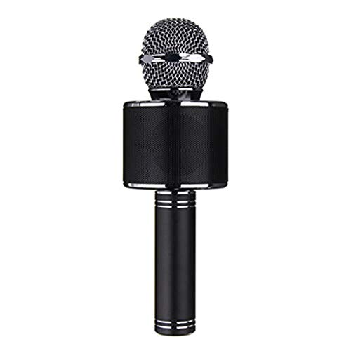 Jialili Mini Wireless Phone Bluetooth KTV Accessories Hand Hold Sing Microphone Echo Sound Reverberation with 3.5mm Audio Jack Black ()