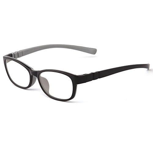 Mind Bridge Kids Computer Glasses Video Gaming Glasses - Anti Harmful Blue Light / UV400   Anti Glare   Protection Eyewear for Children Digital Screen Time & Technology Use   Model 558 (Black + Grey)