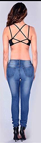 Tasche Bassa Fit Pantaloni Matita Sportivi Slim Fashion Con E A Giovane Colour Bottone Donna Elasticizzati Saoye Vita Jeans OxRwYH