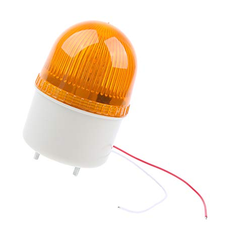 D DOLITY 12V Stroboscopic Warning Light Signal Beacon Yellow with Audible Alarm, high Lightness LED Bulb, Good for Industry and Home use