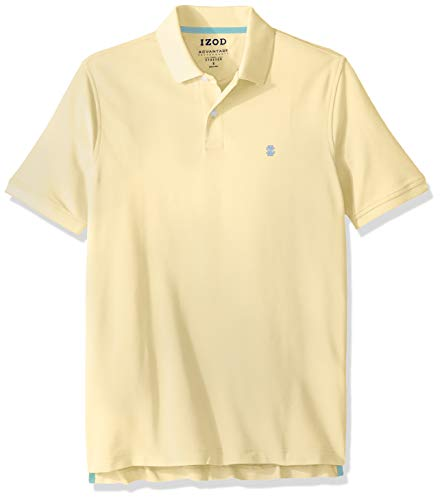 IZOD Men's Advantage Performance Short Sleeve Solid Heather Polo, Lemon, X-Large