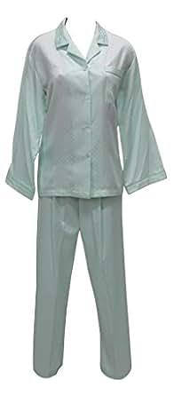 New Miss Elaine Jacquard Brushed Back Satin Long Two Piece Pajama,Mint,Small