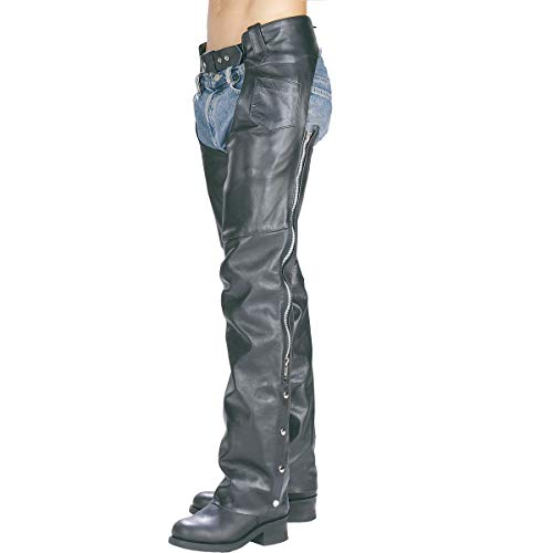 Xelement 7550 'Classic' Black Unisex Leather Motorcycle Chaps - 40