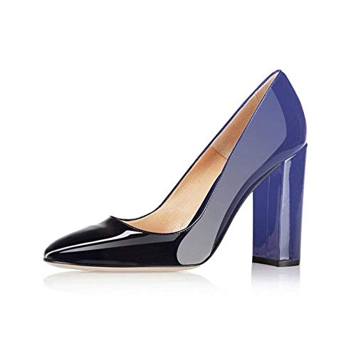 Fericzot Pumps Women Sexy Patent Leather Pointed Toe Block Heels Pumps Gorgeous Evening Party Wedding Stiletto Shoes Plus Size Black-Blue 9M