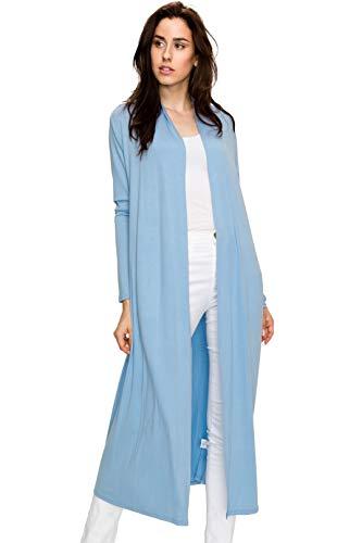 EttelLut Maxi Long Open Front Lightweight Cardigan Sweaters Regular Plus Size Baby Blue XXL -