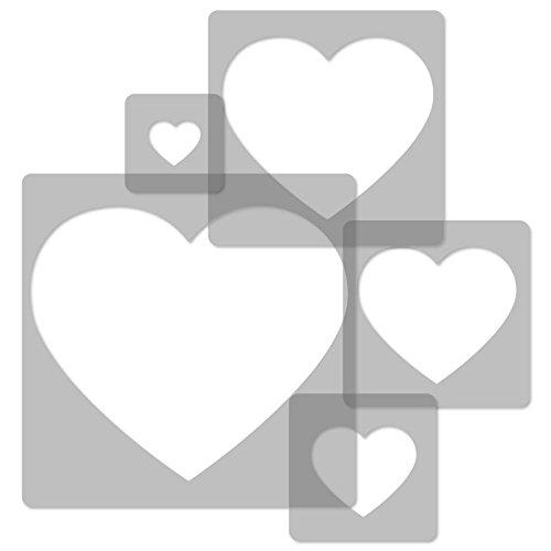 5 plantillas de pintura reutilizables hechas de pl/ástico //// CORAZ/ÓN //// 34x34cm x 9x9cm //// decoraci/ón de la habitaci/ón de los ni/ños //// multiusos //// para ni/ños //// de pared //// para guarderia