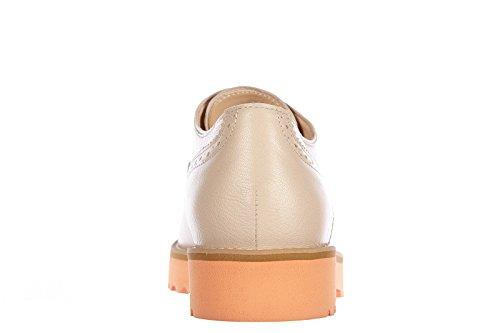 de cordones en mujer route zapatos piel clásico Hogan h259 nuevo beige brogue qCtROBExWx