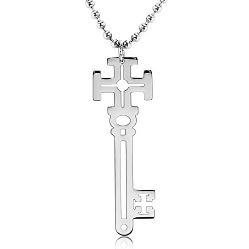 Crescent Rods Steel Stainless - ANAZOZ Jewelry Stainless Steel Men,Women's 2 Pcs Couple Hollow Key Silver Pendant Necklaces for Women