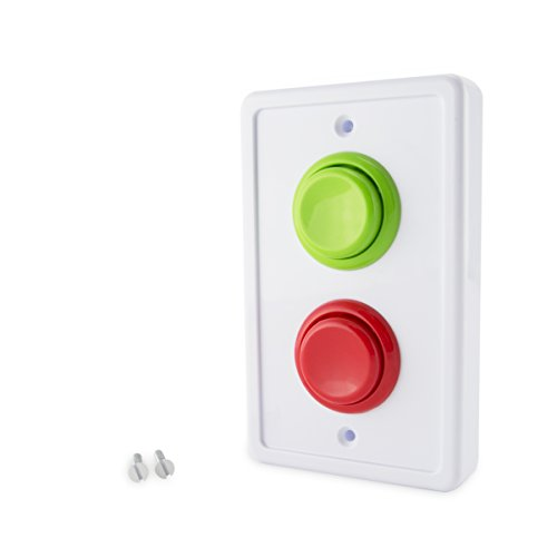 Arcade Light Switch Plate Cover, Single Switch (White/Green,Red) 1-Gang Standard Size Rocker Wall Plate, Game Room Decorator, Kid Bedroom Wallplate, Faceplate Replacement (White/Green/Red)