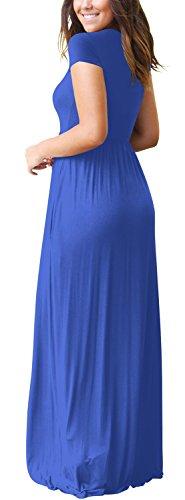Con Lunghe Blue Blue L Size color Girocollo Ploekgda Tasche Manica Maglia E Color Maniche Lunga Casual Donna w4CaYxvq