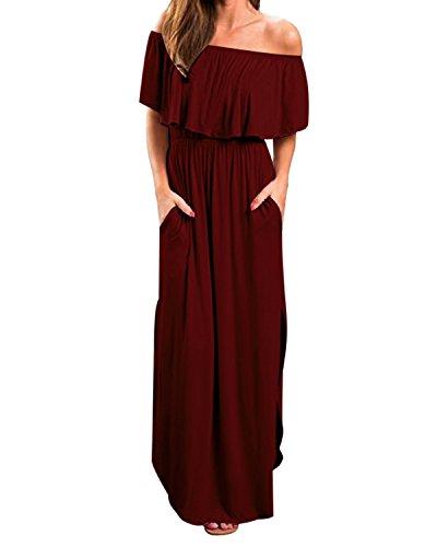 Kidsform Women Off Shoulders Maxi Dress Short Sleeve Ruffles Side Split Long Dress with Pockets Wine Red 2XL