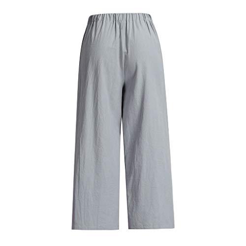 Bhydry Jambe Gris Large Boutons Lâche À Baggy Pantalon Fermeture Taille Haute Glissière 80XPnwOk