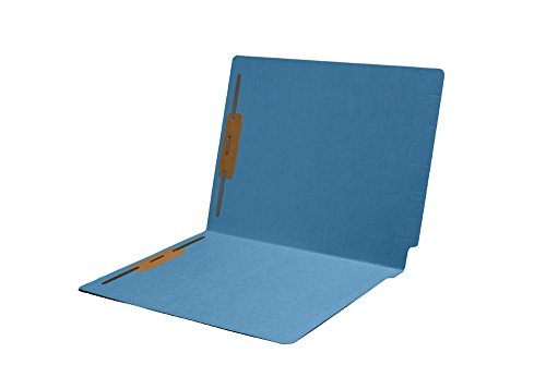 11pt Folders, Assorted Colors, Full Cut 2-Ply END TAB, Letter Size, Fastener Pos #1 & #3 (Box of 50) (Blue - Smead 25040 Match)
