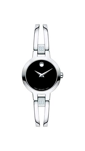 - Movado Women's Amorosa Watch with Concave Dot Museum Dial and Diamond Accents, Silver/Black (607154)