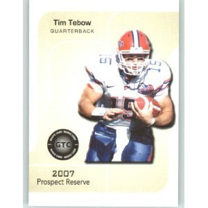 2007 Prospect Reserve Football Card - TIM TEBOW White JSY - Florida Gators (Rookie Prospect Football Cards) New York Jets QB