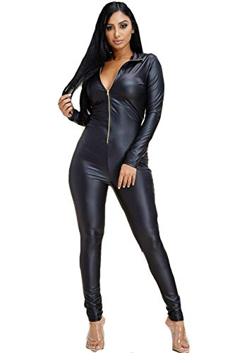 Shop Hot Looks Women's Long Sleeve Faux Leather Jumpsuit with Zipper Front (Small, Black)
