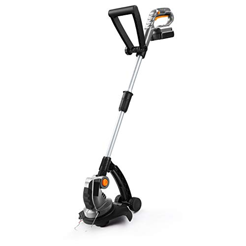 UKOKE U02TE Cordless Electric Power Grass Trimmer & Weed Wacker, Edging and Trimmi, 20V 2A Battery & Charger Included, Silver & Black