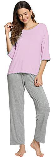 WiWi Bamboo Crew Neck Sleepwear for Women 3/4 Sleeve Pajamas Pants Set S-XXXXL(4XL), Grey Violet+Heather Grey, X-Large