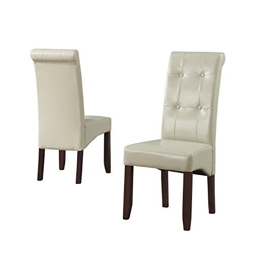Simpli Home Cosmopolitan Deluxe Tufted Parson Chair, Satin Cream (Set of 2) (Cream Faux Leather Dining Chairs)
