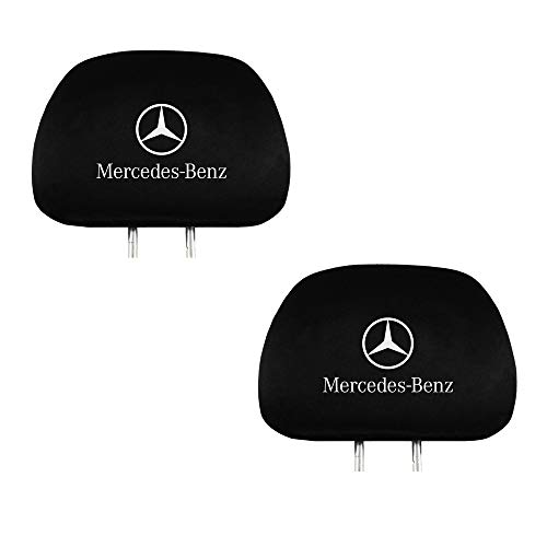 Fubai Auto Parts 2Pack for Mercedes Benz Embroidered Black Gray Fabric Headrest Cover Set (Mercedes-Benz) (Auto Parts Seat Covers)