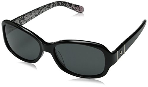 Kate Spade Women's Cheyenne/P/S Polarized Rectangular Sunglasses, Black & Gray Polarized, 55 - Sunglasses P