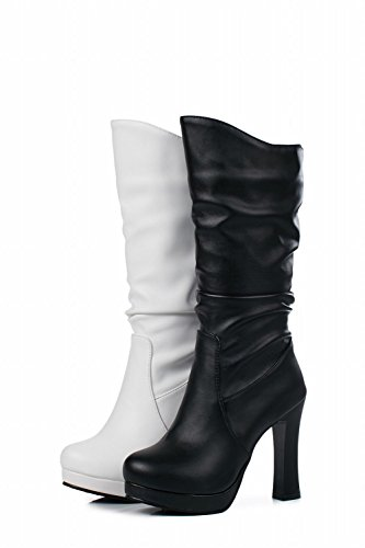 Charm Charm Donna Moda Western Pull On High Heel Mid Claf Boots Bianco