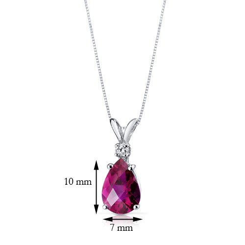 Revoni 14ct or blanc 585/1000 en forme de poire 2.50 Carats rubis diamant pendentif Collier